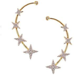 Aabhu Gold Plated American Diamond Ear Cuff Earring Jewellery For Women / Girls