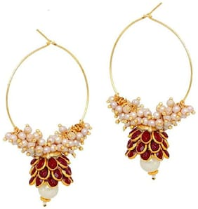 Aabhu Gold Plated Ston Studded Pearl Beaded Jhumka Bali Hoop Earrings For Women and Girl