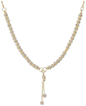 Aabhu Gold Plated American Diamond Fancy kanthi Necklace For Women And Girl