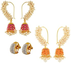 Aabhu Gold Plated Modern Fancy Party Wear Regular Combo of 3 Pairs Earrings For Women And Girl