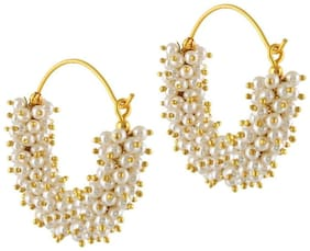 Aabhu Golden Hoop Bali With White Pearl Beads Earrings Jewellery For Woman And Girl