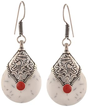 Aabhu Oxidised Designer Fancy Party Wear Ethnic Hook Earrings with Cutwork design Antique Jewellery For Girls and Women