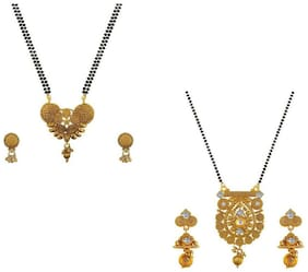 Aabhu Regular Combo of 2 Mangalsutra with Chain and Earrings Jewellery Set for Women