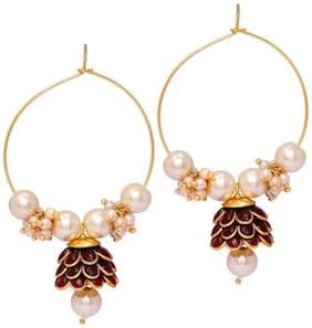 Aabhu Ston Studded Gold Plated Pearl beaded Jhumka Bali Earrings Jewellery For Women and Girl