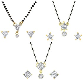 Aabhu Stylish Combo of 3 Mangalsutra with Chain and Stud Earrings Jewellery Set for Women