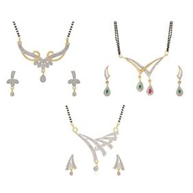 Aabhu Traditional Combo of 3 Mangalsutra with Chain and Earrings Jewellery Set for Women