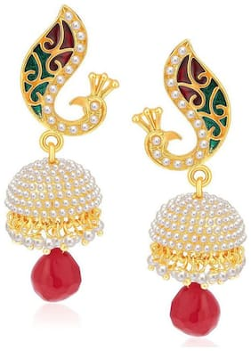 Aabhu Traditinoal Peacock Inspired Pair Of Pearl Jhumki Jhumka Earrings Jewellery For Girl And Woman