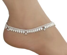 AanyaCentric Indian Traditional Ethnic Fancy Pure Silver Plated White Metal Alloy Stylish Latest Designs Payal Imitation Anklets Pair for Women and Girls