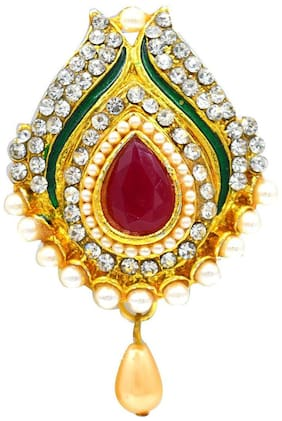 Aashya Mayro Designer Meenakari and Pearl and CZ Diamond Studded Pearl Drop Saree Pin / Brooch For Party Wear For Women / Bridal / Girls / Ladies Wear - For Sarees / Ethnic Wear / Scarfs
