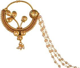 Gold Alloy Nose Ring with Chain