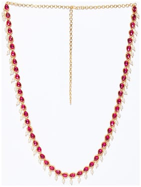 AccessHer American diamond Stones Used Stone Kamarband with pearls