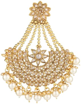Accessher antique gold jhoomar passa with dangling pearls for women