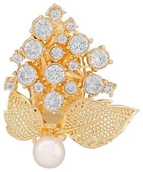 Accessher Brass Gold Broach For Women