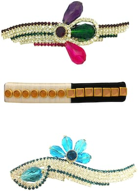 AccessHer Combo of 3 stone studded Hair Ponytail Barrette Clutcher Alligator Buckle/Clip for Women/Girl