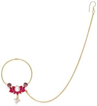 Buy Accessher Gold Plated Lotus Shaped Fuschia Enamel Nose Ring