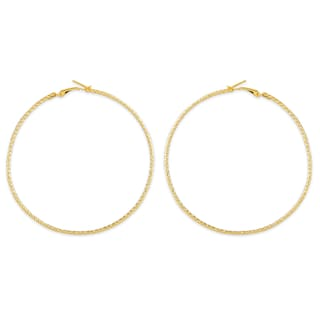 Accessher Gold Color Br Material Hoop Earrings