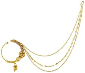 AccessHer gold plated antique, kundan nose ring/ nath with triple chains for women