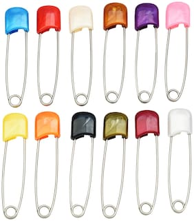 AccessHer Multi Color Brass Pack of 12 safety pins