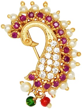 AccessHer Multi Color Banu Nath Brass Nose ring