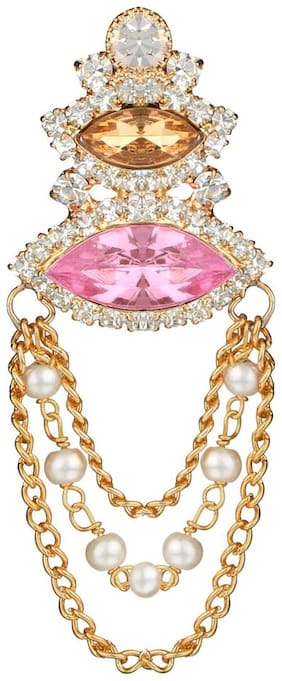 AccessHer vintage pink and gold brooch with chains for women