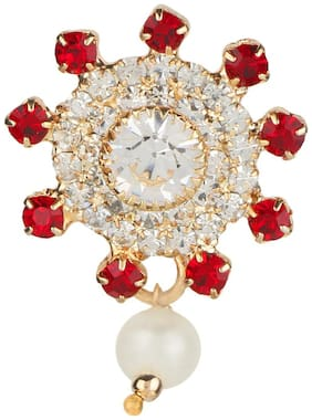 AccessHer vintage red and white rhinestone brooch with pearl