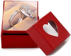 Adjustable Couple Rings for lovers in Silver Plated valentine gift & proposal ring