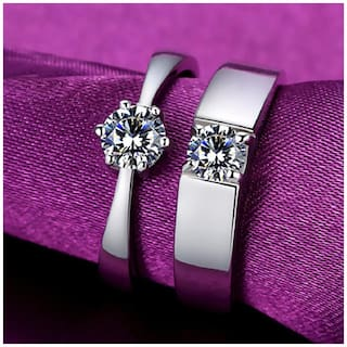 Adjustable Couple Rings for lovers in Silver Plated Valentine gift & Proposal Ring for Your Love Once