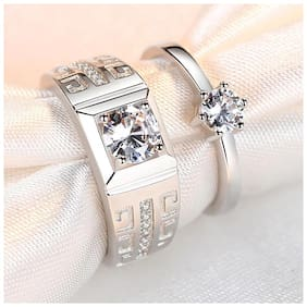 Adjustable Couple Rings for lovers in silver King queen design stylish