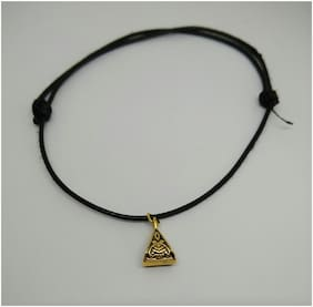 Adjustable knot black rope anklet with gold bail bead