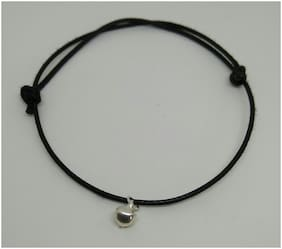 Adjustable knot black rope anklet with silver ghungroo bead