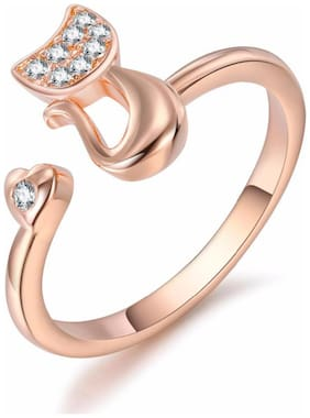 Adorable Cat Cubic Zircon Rosegold Adjustable Ring For Women & Girls