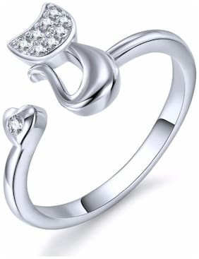 Adorable Cat Cubic Zircon Silver Adjustable Ring For Women & Girls
