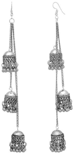 Afghani Kashmiri Tribal Oxidized Alloy Jhumki Earring (Setof 1) Silver