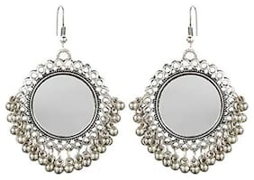 Air Sports  Silver Mirror  Fashion Stylish Oxidised Afghani Tribal Fancy Party Wear Earrings for Girls and Women