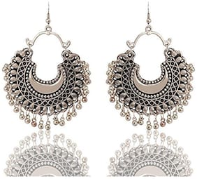 Air Sports Silver Chandbali Fashion Stylish Oxidised Afghani Tribal Fancy Party Wear Earrings for Girls and Women