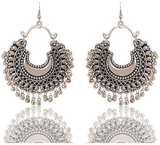 Air Sports Silver Chandbali Fashion Stylish Oxidised Afghani Tribal Fancy Party Wear Earrings for Girls and Women