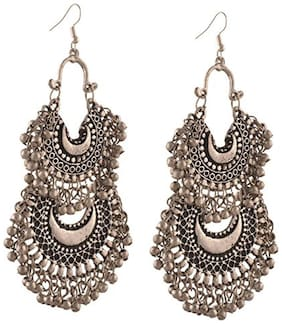 Air Sports Silver Double Chandbali Turkish Style Beaded Chandbali Earrings for Women and Girls