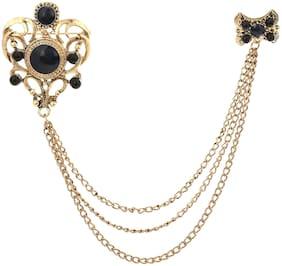AJ Dezines Black Three Gold Chain Crown Party Wear Metal Brooch for Men
