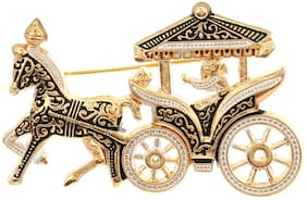 AJ Dezines Black Ethnic Horse Cart Party Wear Metal Brooch for Men