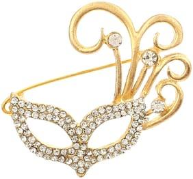 AJ Dezines Gold Mask Design Party Wear Metal Brooch for Women