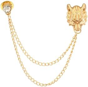 AJ Dezines Gold Double Chain Lion Party Wear Metal Brooch for Men