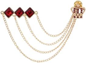 AJ Dezines Red Gold Triple Chain Crown Party Wear Metal Brooch for Men