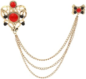 AJ Dezines Red Three Gold Chain Crown Party Wear Metal Brooch for Men