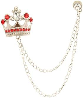AJ Dezines Red Double Chain Crown Party Wear Metal Brooch for Men