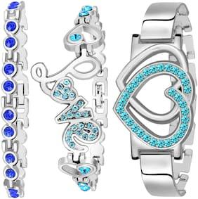 Silver;Blue Alloy Bracelet