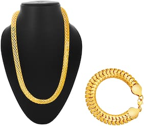 Alanswiss Classic Gold Chain And Bracelet Combo For Men's