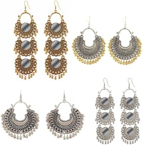 Alcove Stylish Fancy Party Earrings For Women And Girls (Pack Of 4 Earrings)