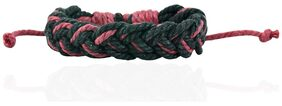 ALPHA MAN Black Crossed Over With Maroon Maroon and Black Thread-Woven Faux Leather Bracelet