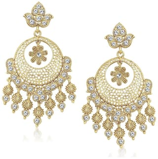 Amaal Traditional Earrings Fancy Party Wear Kundan Moti Pearl Daimond Earrings For Women - TR137