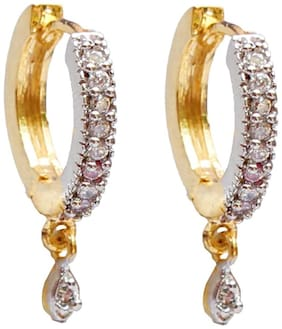 American Diamond Gold Plated Hoop Earring